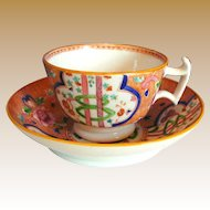 """English Porcelain Cup & Saucer, """"Dollar Pattern"""" London Shape, Antique Early 19th C"""