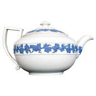 Wedgwood Teapot, Rare White Ware Dry Body, Blue Relief, Antique Early 19th C