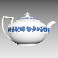 Wedgwood Small Teapot,  White Body, Blue Relief, Antique Early 19th C