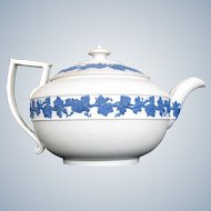 Antique Wedgwood Small Teapot,  White Body, Blue Relief, Early 19th C