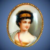 Antique Porcelain Portrait Brooch, Woman with Golden Headband