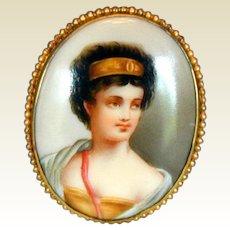 Porcelain Portrait Brooch, Woman with Golden Headband, Antique