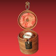 Chinese Teapot, Famille Rose Canton, Unusual Round Cozy Basket, Antique 19th C