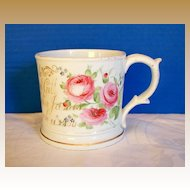 Antique English Porcelain Large Presentation Mug, Hand Painted, dated 1860