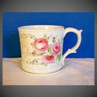 Antique English Porcelain Large Presentation Mug, Hand Painted, dated 1860