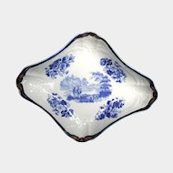 "Antique 18th C English Dessert Dish, Blue & White,  Marked ""Turner"""