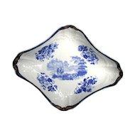 John Turner Dessert Dish, Blue & White,  Rare Impressed Mark, Antique 18th C