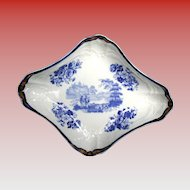 John Turner Dessert Dish, Blue & White,  Rare Impressed Mark, Antique 18th C