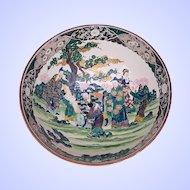 Antique Japanese Bowl, Large,  Green, Ko Kutani,  Meiji Era