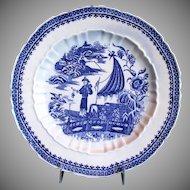 "Caughley Plate ""Fisherman"",  Rare Salopian Mark,  Antique 18th C English Transferware"