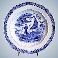 Antique English Plate, Blue & White, Impressed Salopian, 18th C Caughley