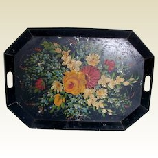 Tole Tray, Large Coffin Shaped, Cut-Out Handles,  Antique 19th C Toleware