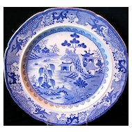 "Mason's Ironstone Plate, ""Turners Willow"",  Impressed Mark, Antique Early 19th C"