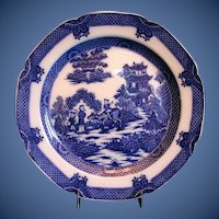 Antique English Blue & White Plate, Boy on a Buffalo,  Early 19th C