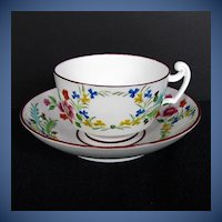 "Antique English Cup & Saucer, Rare Molded Union Wreath, "" Real Nankin China"", Early 19th C"