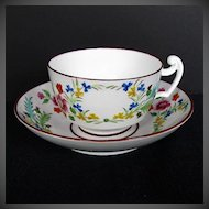 """Antique English Cup & Saucer, Rare Molded Union Wreath, """" Real Nankin China"""", Early 19th C"""
