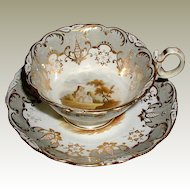 "Coalport ""Adelaide"" Cup & Saucer, Hand Painted Landscapes, Antique Early 19th C English"