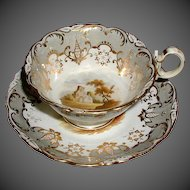 Antique English Cup & Saucer, Hand Painted Landscapes,  Early 19th C  Coalport