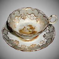 """Coalport """"Adelaide"""" Cup & Saucer, Hand Painted Landscapes, Antique Early 19th C English"""