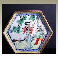 Chinese Canton Enamel Small Hexagonal Dish, Handpainted Woman and Boy