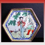 Chinese Canton Enamel Small Hexagonal Dish, Handpainted Woman and Boy