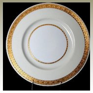 "Minton Dinner Plate, ""Embassy"" Pattern , K108, Gilded Rim w/Cream & White"