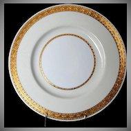 """Minton Dinner Plate, """"Embassy"""" Pattern , K108, Gilded Rim w/Cream & White"""