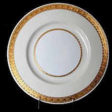 "Minton Dinner Plate, ""Embassy"" Pattern , K108, Gold Encrusted Rim"