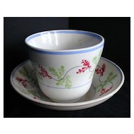Spatterware Cup & Saucer, Holly Pattern, Antique 19th C English Cut Sponge