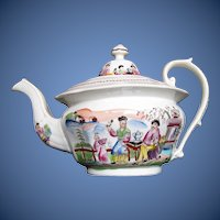 "Antique English Chinoiserie Teapot,  ""Boy in Door"", Early 19th C,  A/F"