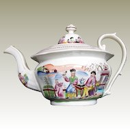 "Zacariah Boyle Porcelain Teapot,  ""Boy in Door"",  Antique Early 19th C English Chinoiserie"