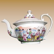"""Antique Staffordshire Porcelain Teapot,  """"Boy in Door"""", Early 19th C  Chinoiserie"""