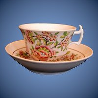Antique English Chinoiserie Cup & Saucer,  Early 19th C  Davenport Porcelain