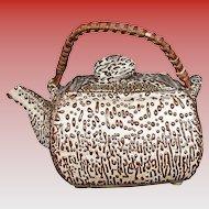 Unusual Square Japanese Studio Pottery Teapot, Jakatsu Glaze, Antique Meiji Era