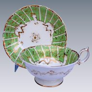 Minton Porcelain Cup & Saucer, Marked Green & Sons, Antique 19th C English