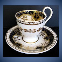 Antique English Cup & Saucer, Blue w/ Gilding,  Early 19th C Ridgway Porcelain