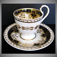 John & William Ridgway Cup & Saucer, Cobalt with Gilding, Antique Early 19th C English Porcelain