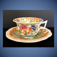 Antique English Chinoiserie Cup & Saucer, Machin, Early 19th C