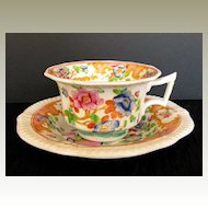 Rare Joseph Machin  Cup & Saucer, English Porcelain Chinoiserie, Antique Early 19th C