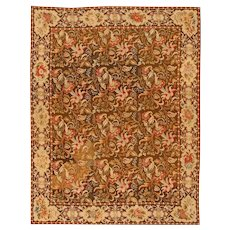 Mesmerizing Floral Antique English Needlepoint Rug 3000