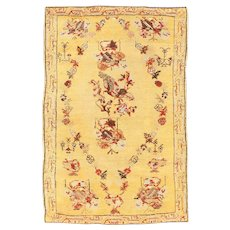 Small Tribal Gold Antique Turkish Ghiordes Rug 40843