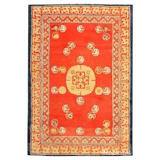 Red Background  Ningxhia  chinese carpet , 4 ft 7 in x 6 ft 7 in (1.4 m x 2.01 m)