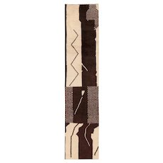 Brown and Beige Vintage Moroccan Runner Rug 49728