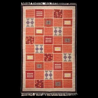 Vintage Scandinavian Swedish Kilim rug by Rakel Callander 45646