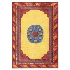 Small Room Size Funky and Tribal Antique Khotan Rug 48784