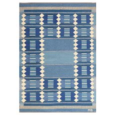 Blue Vintage Swedish Scandinavian Kilim Rug 49263