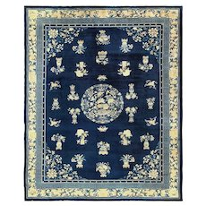 Room Size Chinese Blue and White Antique Peking Rug 49474
