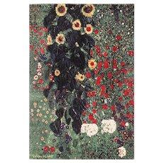 Vintage Scandinavian Farm Garden with Sunflowers Rug by Gustav Klimt