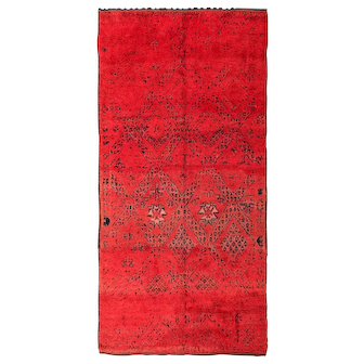 Vintage Gallery Size Double Sided Red Berber Moroccan Rug 49880