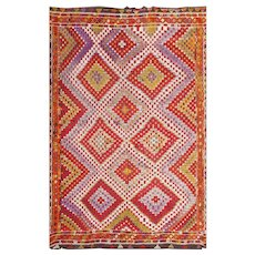 Multi-colored Vintage Turkish Kilim Rug 50534